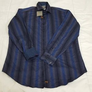 NEW Thomas Dean Striped Shirt Mens Large Blue